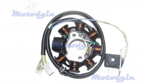 Статор генератора GY6 125/150 (7+1 катушек, 5 контактов)