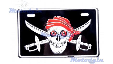 Номерной знак декоративный Skull  череп с саблями